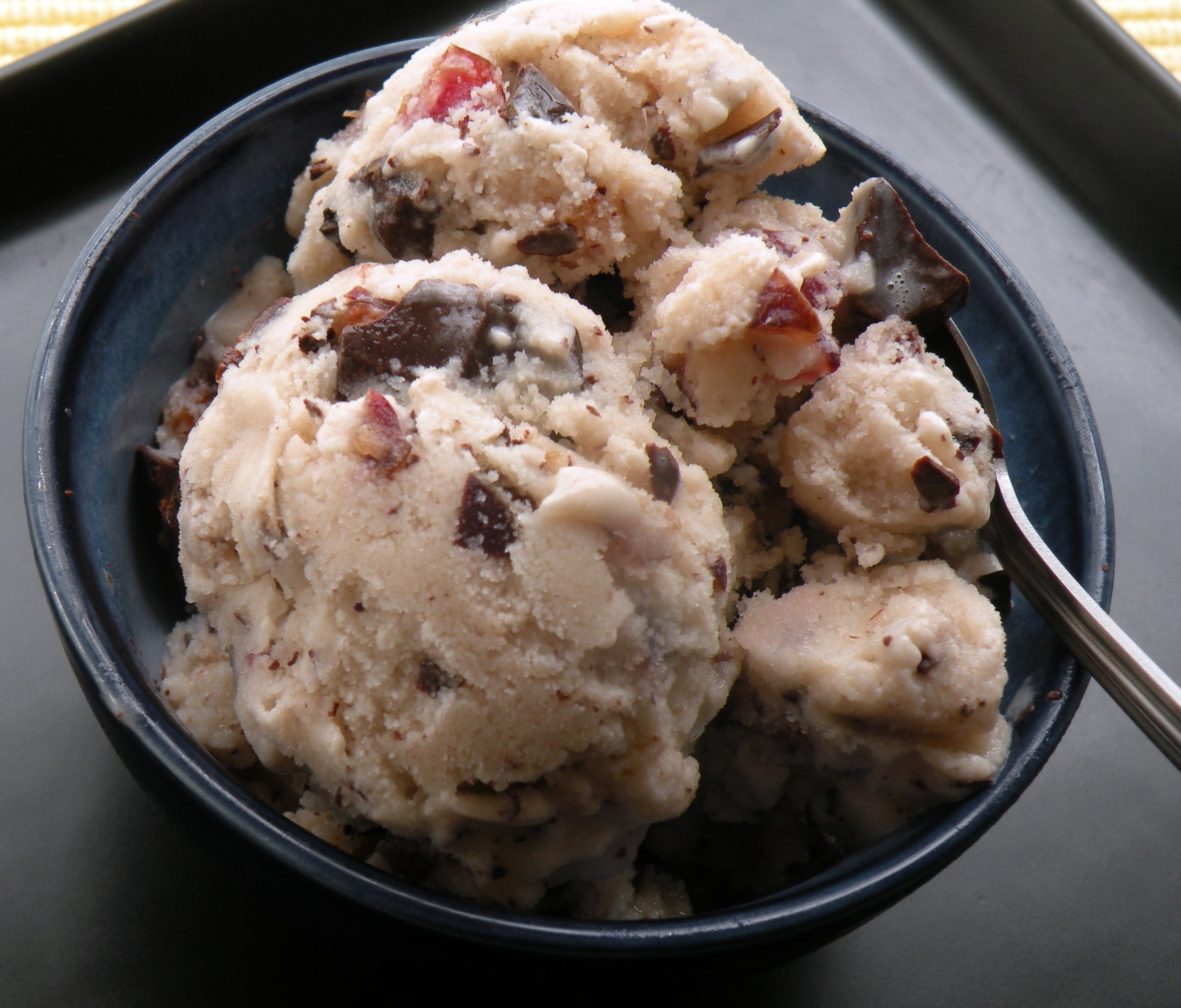 Vanilla almond milk ice cream with dark sweet cherries and dark ...